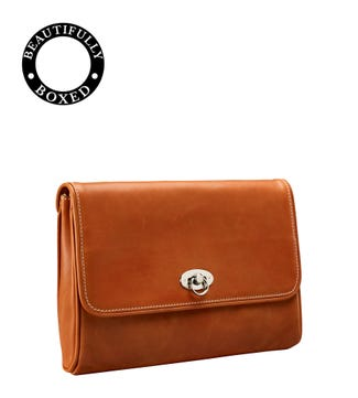 The Elle Leather Clutch in tan