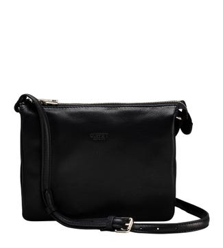 The Kelso Leather Organiser Cross-Body in black | OSPREY LONDON