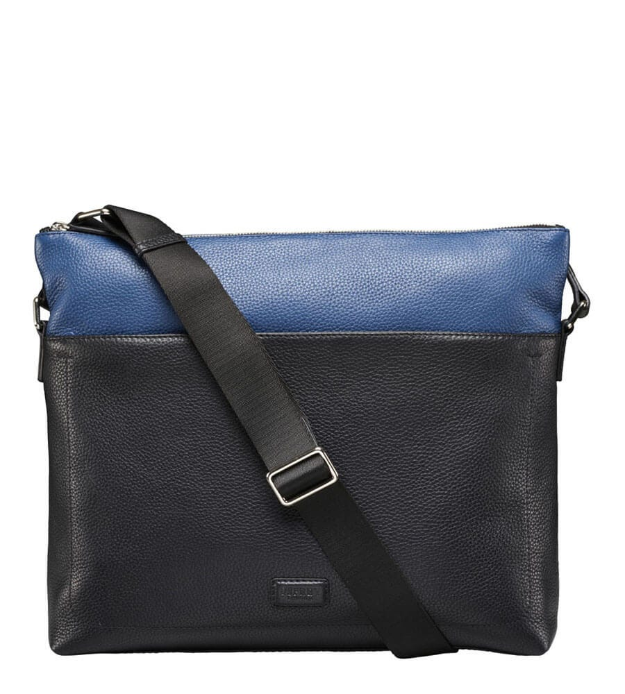 An image of The Black & Blue Leather Messenger Bag