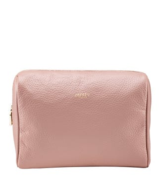 The Winslow Large Leather Washbag in blush pink | OSPREY LONDON