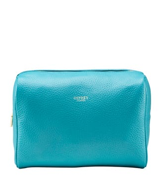 The Winslow Large Leather Washbag in turquoise | OSPREY LONDON