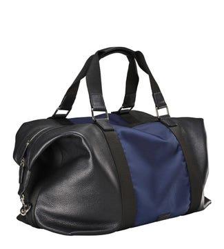 The Ballistic Nylon & Leather Holdall in black & navy   OSPREY LONDON