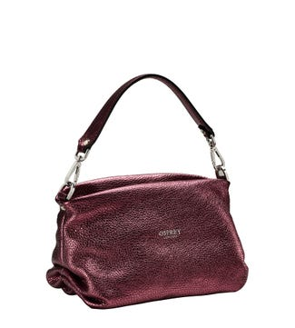 The Carina Italian Leather Grab in metallic grape