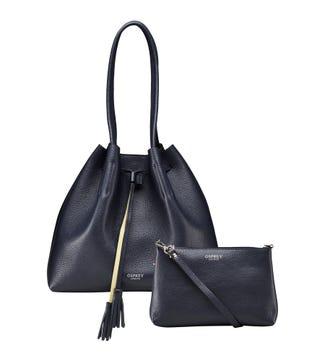 The Portofino Italian Leather Hobo in midnight blue