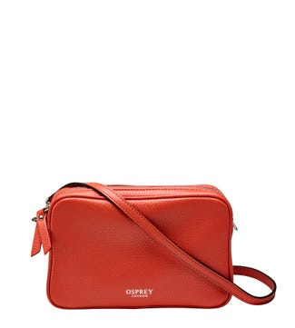 The Andorra Italian Leather Convertable Cross-Body in papaya | OSPREY LONDON
