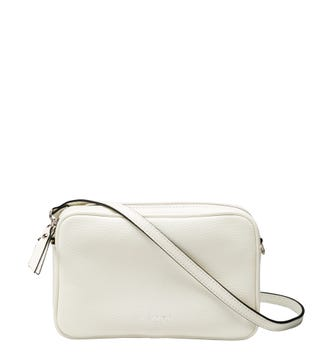 The Andorra Italian Leather Convertable Cross-Body in pearl white | OSPREY LONDON