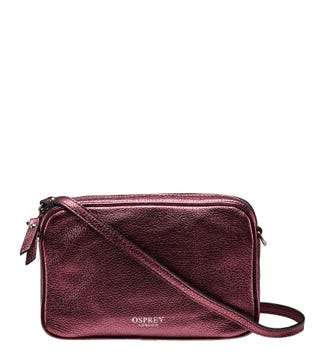 The Andorra Italian Leather Cross-Body in metallic grape