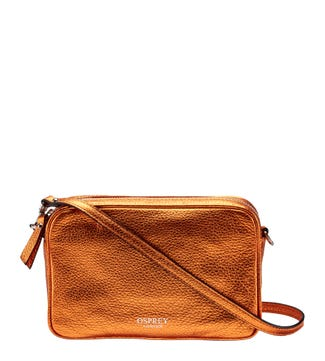 The Andorra Italian Leather Cross-Body in metallic pumpkin