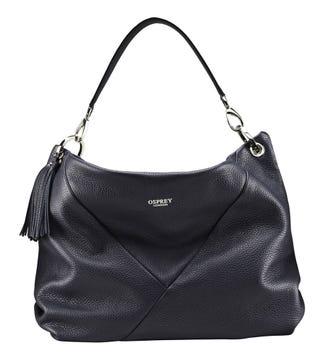 The Carina Italian Leather Hobo bag in midnight blue | OSPREY LONDON