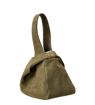 The Operetta Italian Leather Grab in olive green