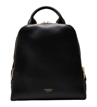 The Aria Italian Leather Backpack in black