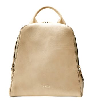 The Aria Italian Leather Backpack in stone