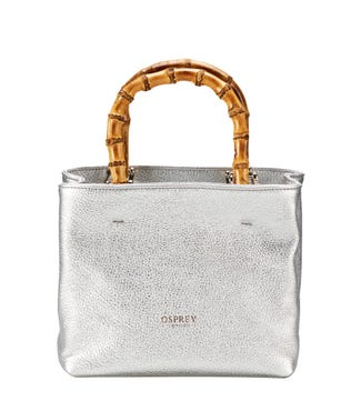 The Mini Clio Italian Leather Grab in silver | OSPREY LONDON