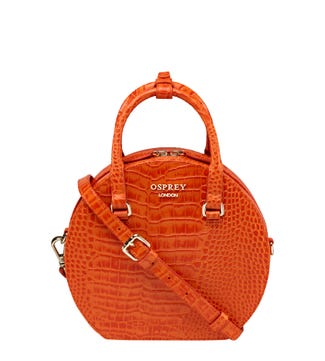 The Kate Leather Grab in tangerine