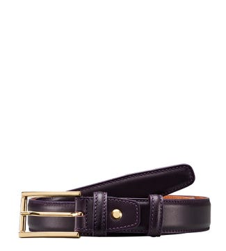 The Rialto Saddle Leather Belt in aubergine  | OSPREY LONDON