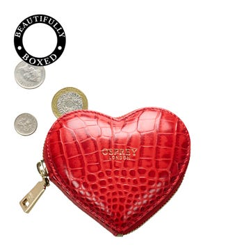 The Viola Leather Heart Coin Purse in red