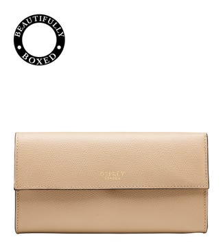 The Rainbow Large Leather Matinee Purse in taupe