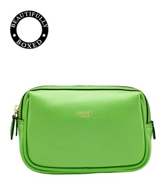 The Rainbow Leather Vanity Bag in apple green