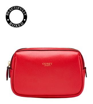 The Rainbow Curved Leather Vanity Bag in red