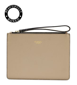 The Rainbow Leather Pouch in taupe