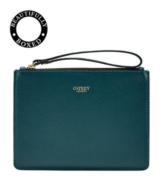 The Rainbow Leather Pouch in teal
