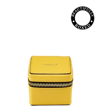 The Rainbow Cube Leather Trinket Box in lemon yellow