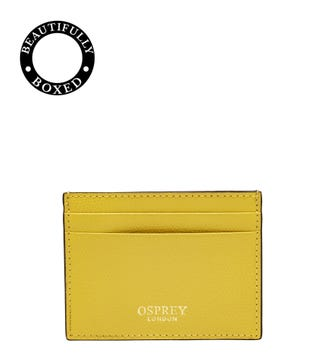 The Rainbow Leather Card Slip in lemon yellow
