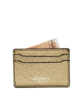 The Angelica Italian Leather Cardholder in gold | OSPREY LONDON