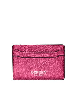 The Angelica Leather Cardholder in sunset pink
