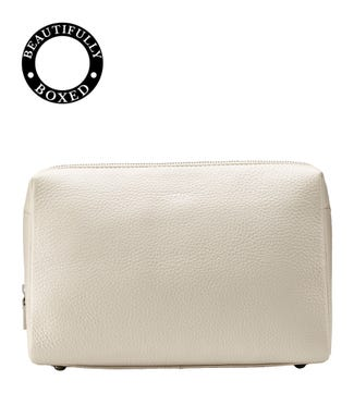 The Large Daria Leather Washbag in coconut white