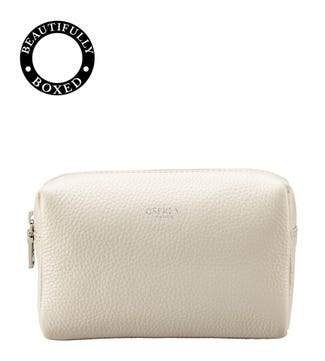 The Daria Leather Make Up Bag in coconut white