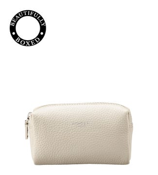The Small Daria Leather Make Up Bag in coconut white