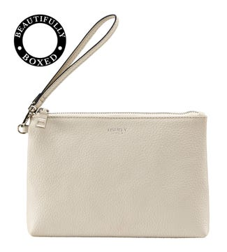 The Daria Leather Zipped Pouch in coconut white
