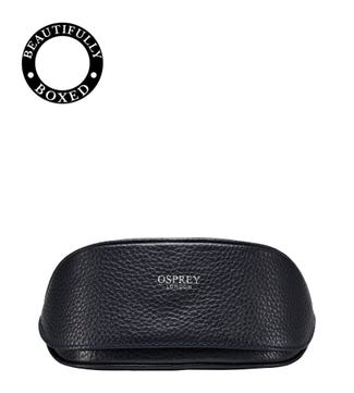 The Daria Leather Sunglasses Case in midnight blue