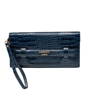The Alban Leather Clutch in navy | OSPREY LONDON