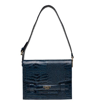 The Alban Leather Covertible Shoulder Bag in navy | OSPREY LONDON