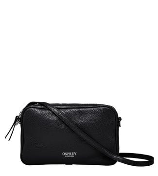 The Andorra Italian Leather Convertible Cross-Body in black | OSPREY LONDON