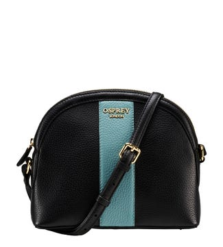 The Aubrie Leather Cross-Body in black & turquoise | OSPREY LONDON