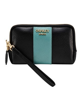 The Aubrie Leather Phone Clutch in black & turquoise | OSPREY LONDON