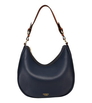 The Brockwell Leather Hobo in navy | OSPREY LONDON