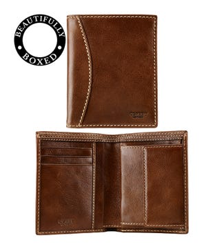 The Brody N/S Leather Wallet with Coin in tan | OSPREY LONDON