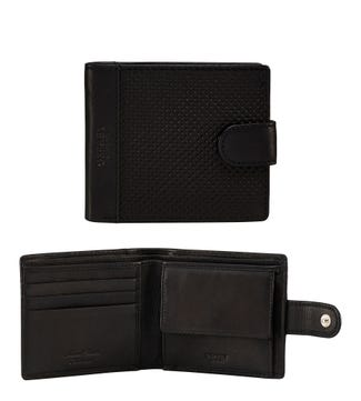 The Brooklands Leather Popper Coin Wallet in black | OSPREY LONDON