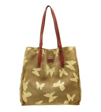 The Butterfly Suede Shoulder Tote in sand | OSPREY LONDON