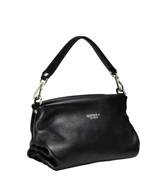 The Carina Shrug Italian Leather Handbag in black | OSPREY LONDON