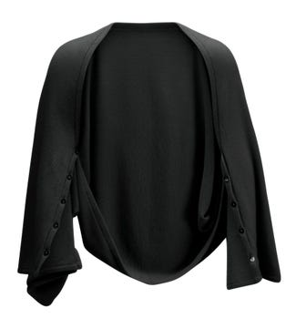 The Cashmere 3-In-1 Button Wrap Poncho in black | OSPREY LONDON