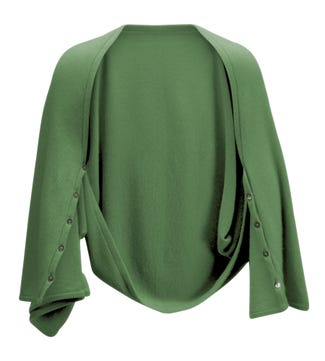 The Cashmere 3-In-1 Button Wrap Poncho in leaf green | OSPREY LONDON
