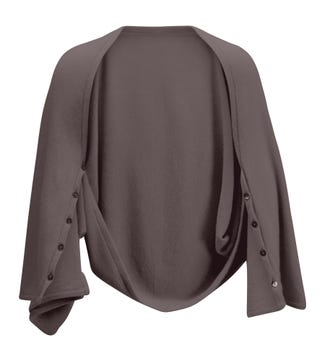 The Cashmere 3-in-1 Button Wrap Poncho in smoke brown | OSPREY LONDON
