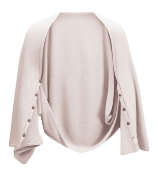 The Cashmere 3-In-1 Button Wrap Poncho in stone | OSPREY LONDON