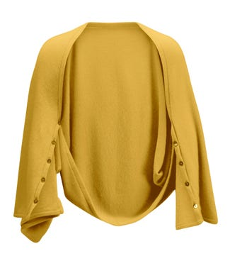 The Cashmere 3-In-1 Button Wrap Poncho in sunflower yellow | OSPREY LONDON