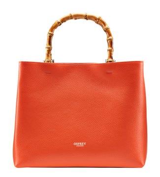 The Clio Italian Leather Grab in burnt orange | OSPREY LONDON